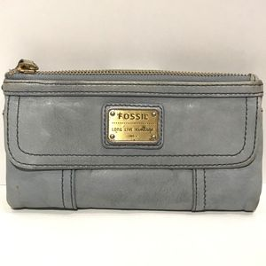 Fossil Emory Blue Vintage Leather Zip Wallet